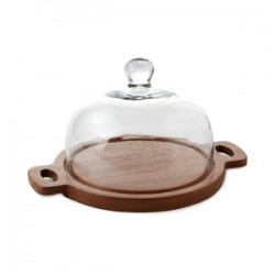 """Fusion Cheese Dome Dia. 8"""" on Wooden Base w/Glass Dome Dia. 8"""" :Clear (Handmade Hot-cut Glass)  ,w/""""Mye"""" Hotstamp"""