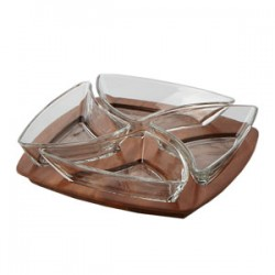 """4-Pce Fusion  Square Chip & Dip Set w/Glass Dip Dishes :Clear (Machinemade Glass) ,w/""""Mye"""" Hotstamp"""