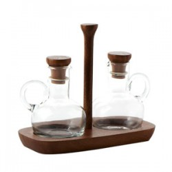 "Fusion Oil & Vinegar Set w/Glass :Clear (Handmade Hot-cut Glass) ,White Rubber Seal  , Wood Handle   ,w/""Mye"" Hotstamp"