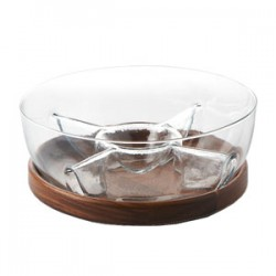 "Fusion Sectioned Chip & Dip Set  on Wooden Platter w/Glass Sectioned Bowl Dia. 11"" :Clear (Handmade Hot-cut Glass)"