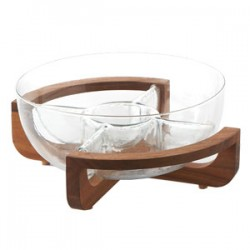 "Fusion Sectioned Chip & Dip Set  on Wooden Stand w/Glass Sectioned Bowl Dia. 11"" :Clear (Handmade Hot-cut Glass) ,"