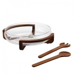 "Fusion Salad Set with Servers on Wooden Stand w/Glass Bowl 14"" :Clear (Handmade Hot-cut Glass)"