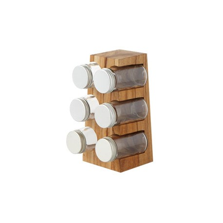 6-Pce Trio Spice Rack Set (w/6 Jars) w/Glass Spice Jars Clear (Machinemade Glass)  , PP & Aluminum Lids